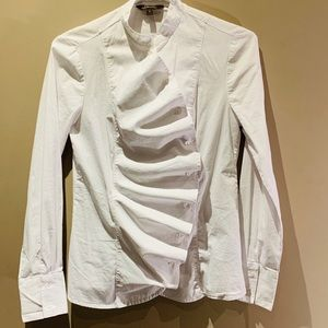 Tops - White blouse with ruffle front detail